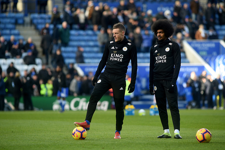 Leicester City's Jamie Vardy and Hamza Choudhury during the pre-match warm-up <br /> <br /> Photographer Hannah Fountain/CameraSport<br /> <br /> The Premier League - Leicester City v Manchester United - Sunday 3rd February 2019 - King Power Stadium - Leicester<br /> <br /> World Copyright © 2019 CameraSport. All rights reserved. 43 Linden Ave. Countesthorpe. Leicester. England. LE8 5PG - Tel: +44 (0) 116 277 4147 - admin@camerasport.com - www.camerasport.com