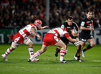 Photo: Richard Lane/Richard Lane Photography. Gloucester Rugby v Stade Toulouse. Heineken Cup. 20/01/2012. Yoann Maestri of Toulouse is tackled by Rupert Harden of Gloucester.