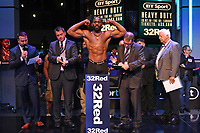 Bryant Jennings on the scales during a Weigh In at the BT Studios, Queen Elizabeth Olympic Park on 12th July 2019