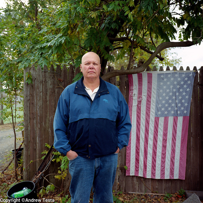 USA. Albany. 08 November 2007..Tom Donnelly outside what was the NL plant. Tom worked nearby at Murphy's Overhead Doors and is now suffering many symptoms linked to exposure to Depleted Uranium..©Andrew Testa