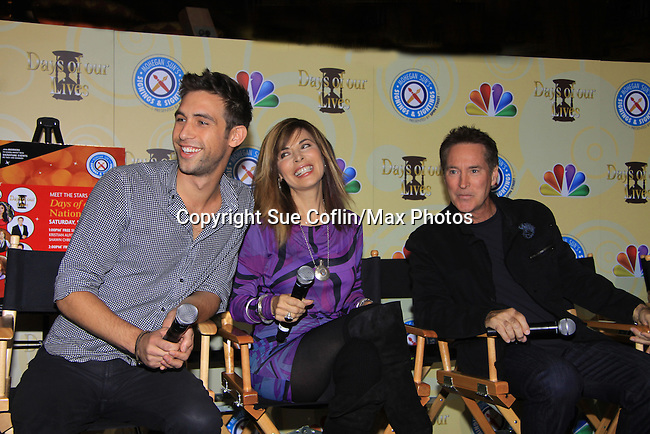 Days Of Our Lives National Tour - Blake Berris and Lauren Koslow and Drake Hogestyn on September 23, 2012 at The Shops at Mohegan Sun, Uncasville, Connecticut. (Photo by Sue Coflin/Max Photos)