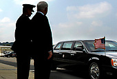 Washington, DC - August 31, 2007 -- Marine General Peter Pace, left, chairman of the Joint Chiefs of Staff, and United States Secretary of Defense Robert M. Gates, await the arrival of United States President George W. Bush and Vice President Dick Cheney as their limousine arrives at the Pentagon, Friday, August 31, 2007.  <br /> Mandatory Credit: Cherie A. Thurlby - DoD via CNP
