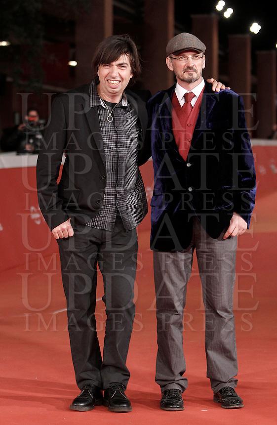 I registi Cyril Barbancon, sinistra, e Andy Byatt posano sul red carpet per l'anteprima del loro film 'Ouragan, L'Odissee d'un vent' ('Hurricane') al Festival Internazionale del Film di Roma, 22 ottobre 2015.<br /> Directors Cyril Barbancon (l) and Andy Byatt (r) pose on the red carpet for the screening of their movie 'Ouragan, L'Odissee d'un vent' ('Hurricane') during the international Rome Film Festival at Rome's Auditorium, 22 October 2015.<br /> UPDATE IMAGES PRESS/Isabella Bonotto