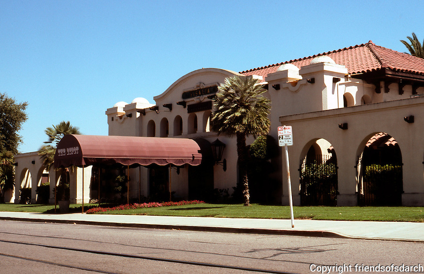 "Mission RR Stations: Southern Pacific Station, Visalia 1914. Arch. Bureau SPRR. Now a restaurant, ""The Depot""."
