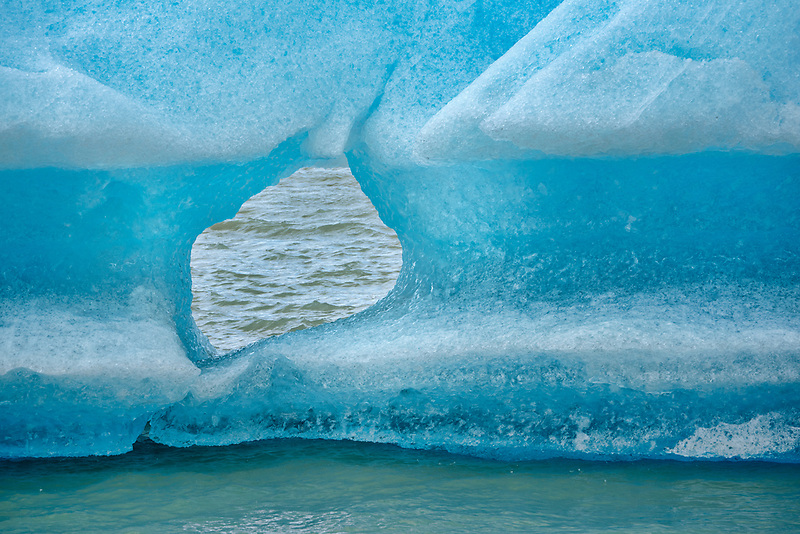 Iceberg from Lago Grey Glacier. Lago Grey lake in  Torres del Paine National Park, Chile