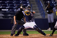Tampa Yankees catcher Wes Wilson (69) throws down to second base during a game against the Bradenton Marauders on April 15, 2017 at George M. Steinbrenner Field in Tampa, Florida.  Tampa defeated Bradenton 3-2.  (Mike Janes/Four Seam Images)