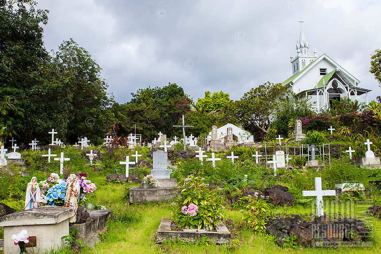 "Cemetery at St. Benedict Roman Catholic Church (a.k.a. ""The Painted Church"") Captain Cook, Big Island."