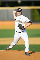Wake Forest Demon Deacons starting pitcher Matt Pirro (1) in action against the High Point Panthers at Wake Forest Baseball Park on April 2, 2014 in Winston-Salem, North Carolina.  The Demon Deacons defeated the Panthers 10-6.  (Brian Westerholt/Four Seam Images)
