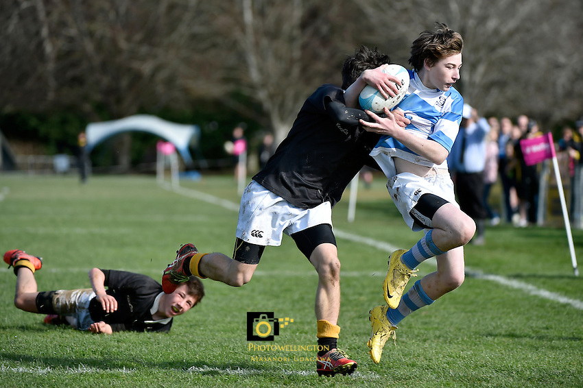 Action from the College Rugby U 65 Division 1 Final - Wellington College v St Pat's Silverstream  at St Pat's Silverstream, Upper Hutt, New Zealand on Saturday 22 August 2015.<br /> Photo by Masanori Udagawa. <br /> www.photowellington.photoshelter.com.