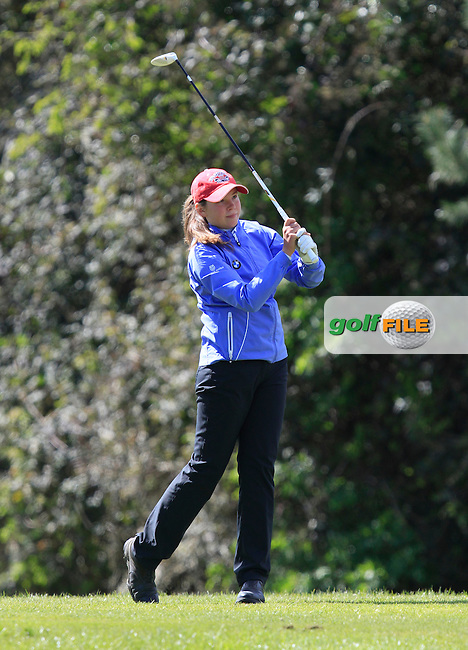 Pi-Lillebi Hermansson (SWE) on the 1st tee during Round 3 of The Irish Girls Open Strokeplay Championship in Roganstown Golf Club on Sunday 19th April 2015.<br /> Picture:  Thos Caffrey / www.golffile.ie