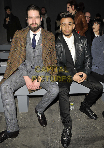 LONDON, ENGLAND - JANUARY 06: Jack Guinness &amp; Aston Merrygold  attends the TOPMAN Design catwalk show, London Collections: Men's ( LCM ) a/w 2014 season, TOPMAN Showspace, The Old Sorting Office, New Oxford St., on Monday January 06, 2014 in London, England, UK.<br /> CAP/CAN<br /> &copy;Can Nguyen/Capital Pictures