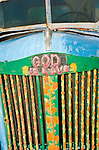 Detail of 1930s GMC truck by Leonard Knight artist and creator of Salvation Mountain by the Slabs near Niland, Calif...Leonard Knight is a gentle and friendly man who is sharing his passion for God with all comers in the Imperial Valley.