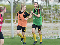 20180306 - LARNACA , CYPRUS :  Belgian Elena Dhont and Silke Vanwynsberghe pictured during a Matchday -1 training from The Belgian Red Flames prior to their game against South Africa , on tuesday 6 March 2018 at the Alpha Sports Grounds in Larnaca , Cyprus . This will be the final game for Belgium during the Cyprus Womens Cup for a battle for the 5th place , a prestigious women soccer tournament as a preparation on the World Cup 2019 qualification duels. PHOTO SPORTPIX.BE | DAVID CATRY