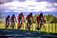 Westlake BHS senior B u20 boys in action during the 2017 NZ Schools Road Cycling championships day one team time trials at Koputaroa Road near Levin, New Zealand on Saturday, 30 September 2017. Photo: Dave Lintott / lintottphoto.co.nz