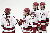 Sarah Edney (Harvard - 3), Kaitlin Spurling (Harvard - 17), Kalley Armstrong (Harvard - 13), Gina McDonald (Harvard - 10) - The Boston College Eagles defeated the Harvard University Crimson 4-2 in the 2012 Beanpot consolation game on Tuesday, February 7, 2012, at Walter Brown Arena in Boston, Massachusetts.