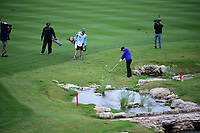 Kevin Chappell (USA) hits his approach shot on 18 during round 3 of the Valero Texas Open, AT&amp;T Oaks Course, TPC San Antonio, San Antonio, Texas, USA. 4/22/2017.<br /> Picture: Golffile | Ken Murray<br /> <br /> <br /> All photo usage must carry mandatory copyright credit (&copy; Golffile | Ken Murray)