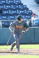 Jason Vosler #20 of the Boise Hawks bats against the Everett AquaSox at Everett Memorial Stadium on July 25, 2014 in Everett, Washington. Everett defeated Boise, 3-1. (Larry Goren/Four Seam Images)
