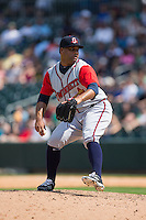 Gwinnett Braves relief pitcher Joel De La Cruz (40) in action against the Charlotte Knights at BB&T BallPark on May 22, 2016 in Charlotte, North Carolina.  The Knights defeated the Braves 9-8 in 11 innings.  (Brian Westerholt/Four Seam Images)
