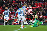 Football match during La Copa del rey, between the teams Athletic Club and Malaga CF<br /> Bilbao, 30-01-14<br /> laporte fight the ball with ochoa<br /> Rafa Marrodán&Alex Zugaza/PHOTOCALL3000