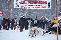 Mikah Whitehead during the start of the 2018 Junior Iditarod Sled Dog Race on Knik Lake in Southcentral, Alaska.  Saturday February 24, 2018<br /> <br /> Photo by Jeff Schultz/SchultzPhoto.com  (C) 2018  ALL RIGHTS RESERVED