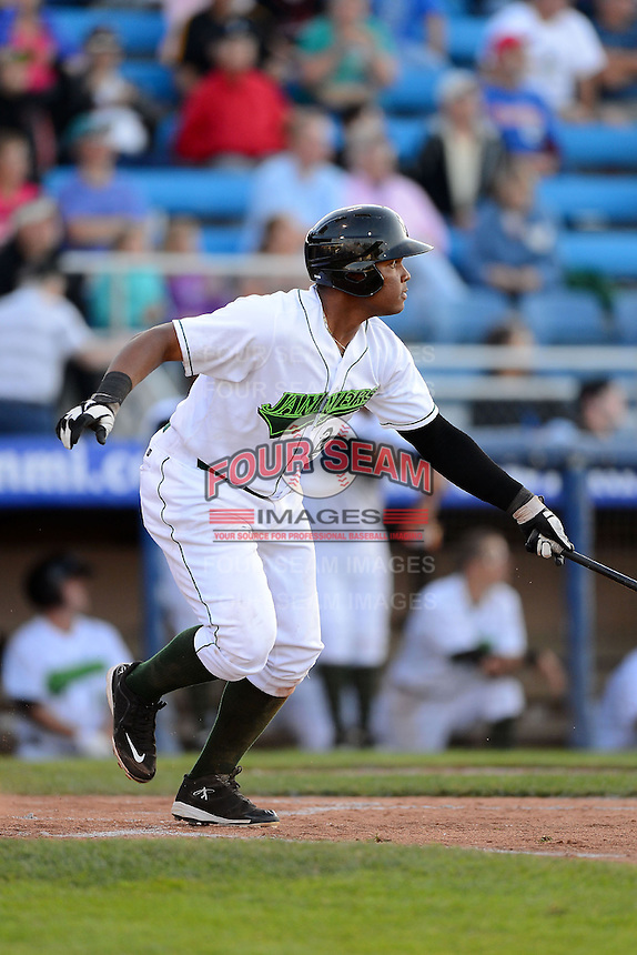 Jamestown Jammers first baseman Edwin Espinal #29 during a game against the Williamsport Crosscutters on June 20, 2013 at Russell Diethrick Park in Jamestown, New York.  Jamestown defeated Williamsport 12-6.  (Mike Janes/Four Seam Images)
