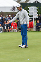 Jon Rahm (ESP) reacts to barely missing his putt on 3 during round 4 of the 2019 US Open, Pebble Beach Golf Links, Monterrey, California, USA. 6/16/2019.<br /> Picture: Golffile | Ken Murray<br /> <br /> All photo usage must carry mandatory copyright credit (© Golffile | Ken Murray)