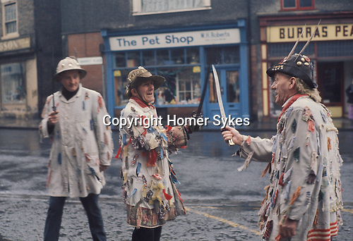 Ripon Sword Dance Play. Ripon Yorkshire Uk 1970s Boxing Day.Eddie Hardcastle ( on right) with family members. Brother in centre and cousin? 1971
