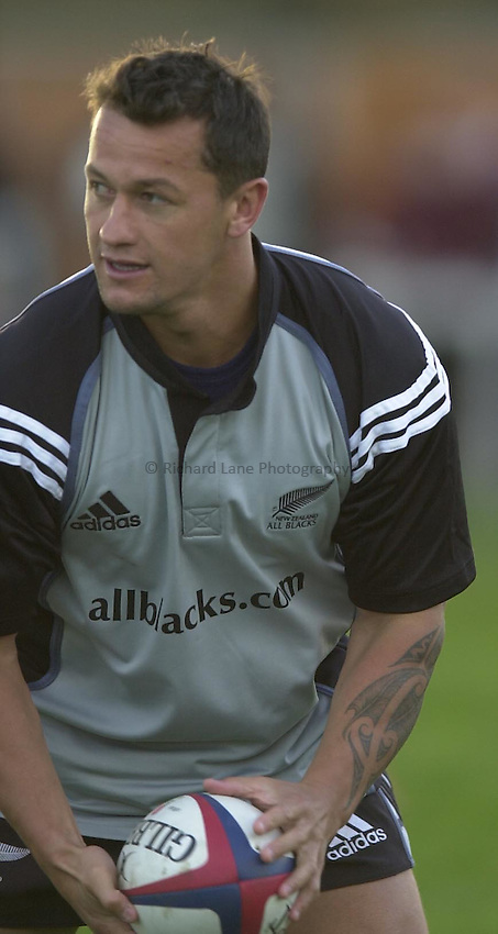 Photo Peter Spurrier.04/11/2002.All Black  Rugby Training -  Richmond Athletic Ground.Carlos Spencer....