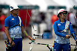 Furukawa Takaharu (JPN), Sugimoto Tomomi(JPN)<br /> AUGUST 27, 2018 ? Archery : <br /> Asian games 2018 Jakarta Palembang<br /> Recurve Mixed Team Gold Medal Match, <br /> at The GBK in Jakarta, Indonesia. <br /> (Photo by AFLO)