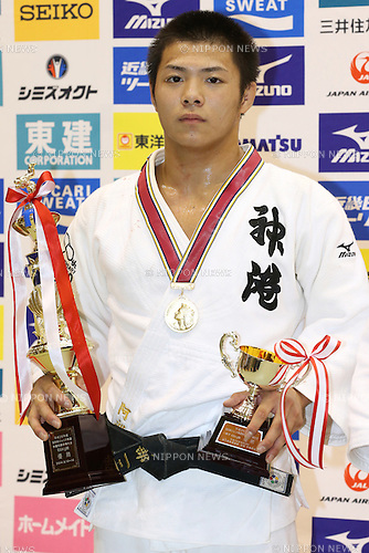Hifumi Abe,<br /> September 13, 2014 - Judo : <br /> All Japan Juior Judo Championships <br /> Men's -66kg Victory Ceremony<br /> at Saitama Kenritsu Budokan, Saitama, Japan. <br /> (Photo by Shingo Ito/AFLO SPORT) [1195]