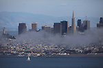 San Francisco skyline shrouded in a little line of as seen from the Sausalito, California.