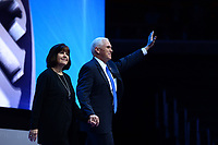 Washington, DC - March 26, 2017: Vice President Mike Pence enters the main hall of the Verizon Center with his wife, Karen, before addressing attendees of the AIPAC Policy Conference, March 26, 2017, in the District of Columbia. (Photo by Don Baxter/Media Images International)