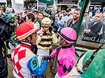 May 4, 2019 :Jockey Flavien Prat talks with stewards as he lodges an objection against preliminary winner Maximum Security and rider Luis Saez (pink cap). Maximum Security would be disqualified and Prat and his mount, Country House, awarded the win in the Kentucky Derby on Kentucky Derby Day at Churchill Downs on May 4, 2019 in Louisville, Kentucky. Scott Serio/Eclipse Sportswire/CSM