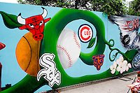 Street art work of Chicago sports teams at Millennium Park.  Chicago Illinois USA