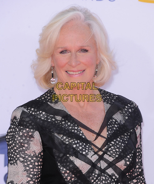Glenn Close.The 64th Anual Primetime Emmy Awards held at Nokia Theatre L.A. Live in Los Angeles, California, USA..September 23rd, 2012.emmys headshot portrait black lace pink print .CAP/DVS.©DVS/Capital Pictures.