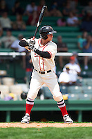 Birmingham Barons outfielder Brian Fletcher (21) at bat during the 20th Annual Rickwood Classic Game against the Jacksonville Suns on May 27, 2015 at Rickwood Field in Birmingham, Alabama.  Jacksonville defeated Birmingham by the score of 8-2 at the countries oldest ballpark, Rickwood opened in 1910 and has been most notably the home of the Birmingham Barons of the Southern League and Birmingham Black Barons of the Negro League.  (Mike Janes/Four Seam Images)