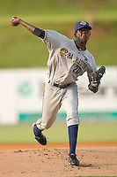 Starting pitcher Jose A. Ramirez #20 of the Charleston RiverDogs in action against the Kannapolis Intimidators at Fieldcrest Cannon Stadium May 29, 2010, in Kannapolis, North Carolina.  Photo by Brian Westerholt / Four Seam Images