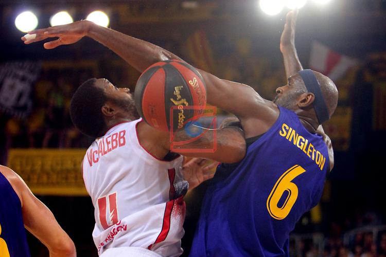 League ACB-ENDESA 201/2019.Game 38.<br /> PlayOff Semifinals.1st match.<br /> FC Barcelona Lassa vs Tecnyconta Zaragoza: 101-59.<br /> Bo McCalebb vs Chris Singleton.
