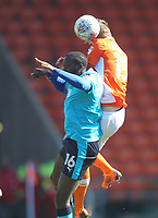 Blackpool's Sean Longstaff jumps with  Fleetwood Town's Toumani Diagouraga<br /> <br /> Photographer Mick Walker/CameraSport<br /> <br /> The EFL Sky Bet League One - Blackpool v Fleetwood Town - Saturday 14th April 2018 - Bloomfield Road - Blackpool<br /> <br /> World Copyright &copy; 2018 CameraSport. All rights reserved. 43 Linden Ave. Countesthorpe. Leicester. England. LE8 5PG - Tel: +44 (0) 116 277 4147 - admin@camerasport.com - www.camerasport.com