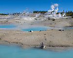 Yellowstone National Park, Wyoming:<br /> Rising steam from thermals of the Porcelain Basin in the Norris Geyser Basin