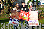 Mary Dennehy, Ballylongford, Quentin Caraux, Kenmare and Siobhán Casey, attending the Anti Abortion protest on Wednesday at Manor..