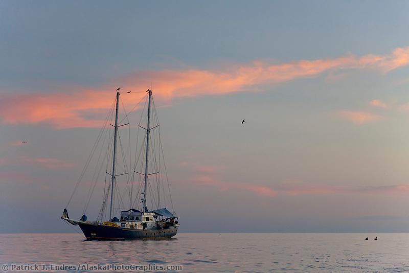 The Beagle, anchored off Santa Cruz Island, Galapagos Islands, Ecuador.