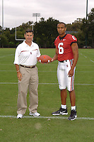 7 August 2006: Stanford Cardinal head coach Walt Harris and David Lofton during Stanford Football's Team Photo Day at Stanford Football's Practice Field in Stanford, CA.