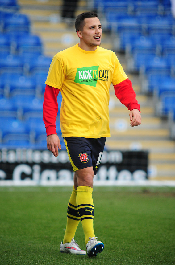Fleetwood Town's Antoni Sarcevic during the pre-match warm-up <br /> <br /> Photographer Chris Vaughan/CameraSport<br /> <br /> Football - The Football League Sky Bet League One - Chesterfield v Fleetwood Town - Saturday 28th February 2015 - Proact Stadium - Chesterfield<br /> <br /> &copy; CameraSport - 43 Linden Ave. Countesthorpe. Leicester. England. LE8 5PG - Tel: +44 (0) 116 277 4147 - admin@camerasport.com - www.camerasport.com
