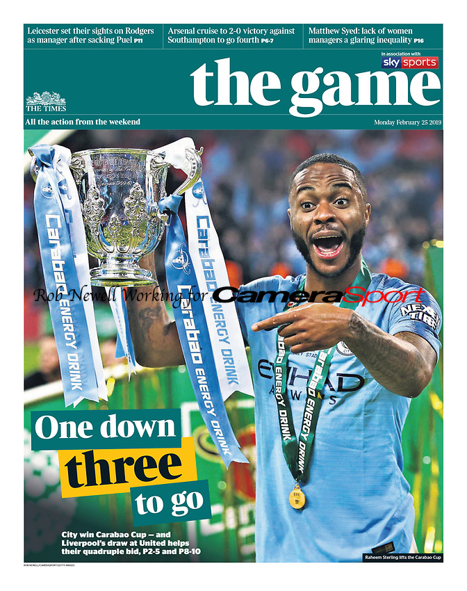 The Times - 25-Feb-2019 - 'One down three to go' - Photo by Rob Newell (Camerasport via Getty Images)
