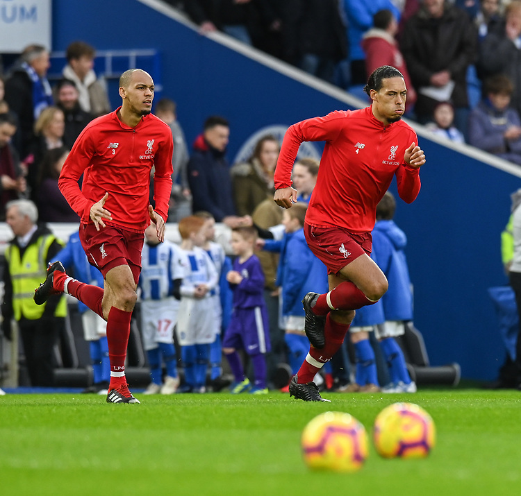 Liverpool's Fabinho (left) & Liverpool's Virgil van Dijk (right) during the prematch warmup <br /> <br /> Photographer David Horton/CameraSport<br /> <br /> The Premier League - Brighton and Hove Albion v Liverpool - Saturday 12th January 2019 - The Amex Stadium - Brighton<br /> <br /> World Copyright © 2018 CameraSport. All rights reserved. 43 Linden Ave. Countesthorpe. Leicester. England. LE8 5PG - Tel: +44 (0) 116 277 4147 - admin@camerasport.com - www.camerasport.com