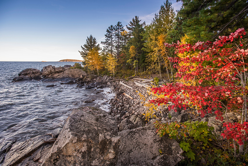 Fall color along the rugged Lake Superior shoreline of the Wetmore Landing area near Marquette, Michigan.