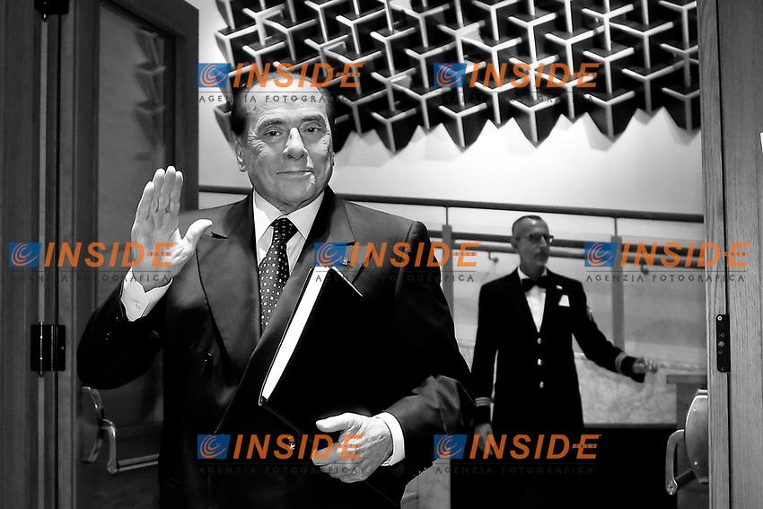 Silvio Berlusconi<br /> Roma 26/07/2018. Aula dei Gruppi. Assemblea di Forza Italia.<br /> Rome 26th of July. Assembly of Forza Italia Party.<br /> Foto Samantha Zucchi Insidefoto