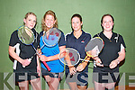 Taking part in the Annual Listowel Badminton Tournament held in the Listowel Community Centre over last weekend were Suzanne Sheehy, Tralee, Jeanell Griffin, Moyvane, Ruth Concannon, Tralee & Lisa Sayers, Annascaul..