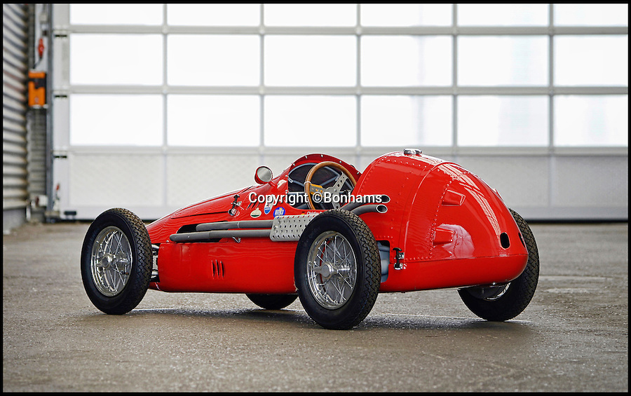 BNPS.co.uk (01202 558833)<br /> Pic: Bonhams/BNPS<br /> <br /> Maserati '250F' Junior Single-Seater estimate £8,500.<br /> <br /> The ultimate boy's toy... <br /> <br /> A selection of fully functional racing car replicas designed for children are set to see people speeding to auction. <br /> <br /> Not many kids can say they got a Ferrari for Christmas but the emergence of three pint-sized sport cars has presented the unusual opportunity. <br /> <br /> Each item in the collection, which includes a Ferrari 500 F2, Ferrari 330 P2 and Maserati 250F are valued at up to £8,500. <br /> <br /> Automatically driven, they are operated with a brake and accelerator and can reach speeds of up to 30mph.